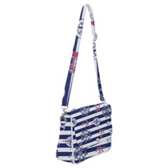 Seamless-marine-pattern Shoulder Bag With Back Zipper