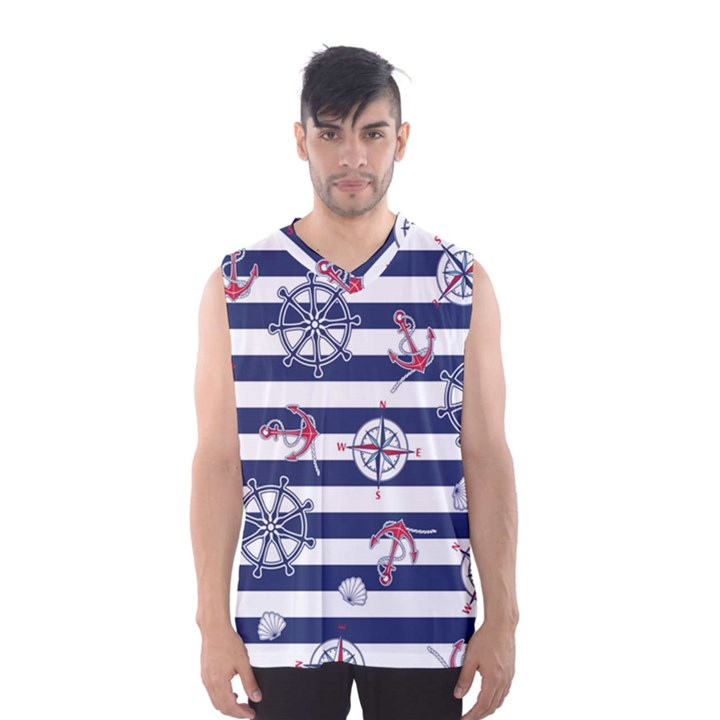 Seamless-marine-pattern Men s Basketball Tank Top