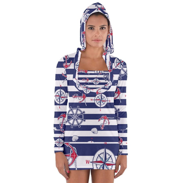 Seamless-marine-pattern Long Sleeve Hooded T-shirt