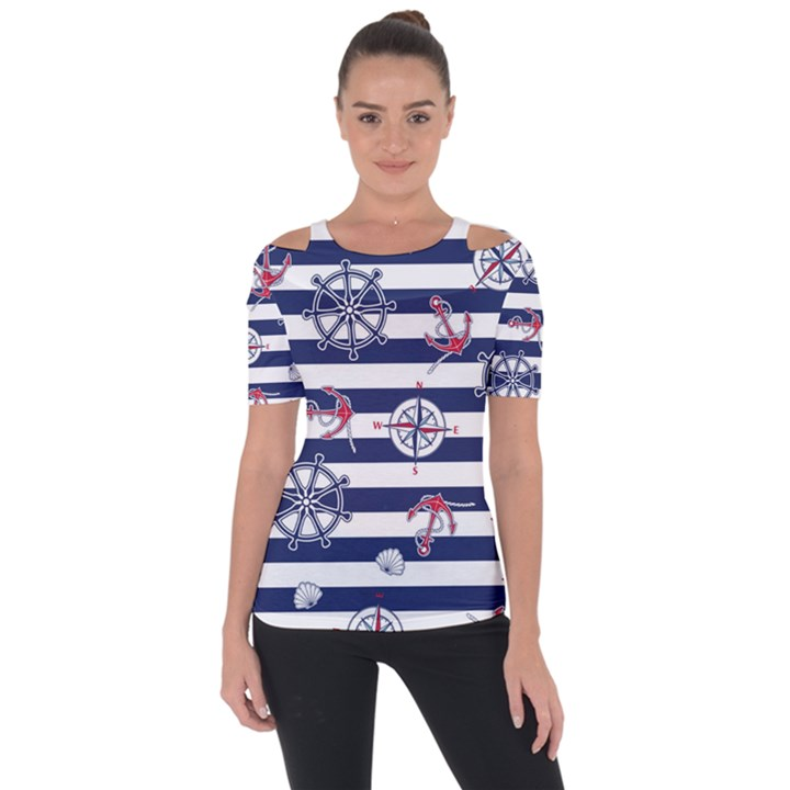 Seamless-marine-pattern Shoulder Cut Out Short Sleeve Top