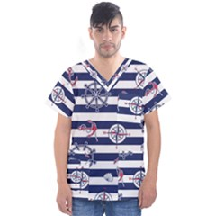Seamless-marine-pattern Men s V-neck Scrub Top