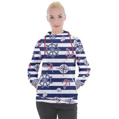 Seamless-marine-pattern Women s Hooded Pullover by BangZart