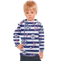 Seamless-marine-pattern Kids  Hooded Pullover by BangZart
