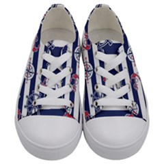 Seamless-marine-pattern Kids  Low Top Canvas Sneakers