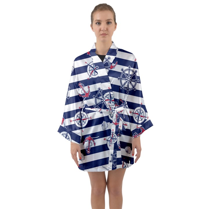 Seamless-marine-pattern Long Sleeve Satin Kimono