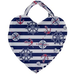 Seamless-marine-pattern Giant Heart Shaped Tote