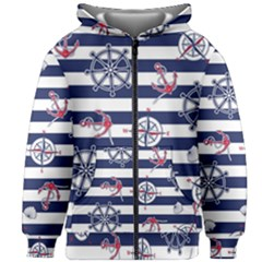 Seamless-marine-pattern Kids  Zipper Hoodie Without Drawstring by BangZart