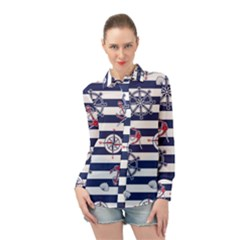 Seamless-marine-pattern Long Sleeve Chiffon Shirt