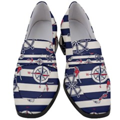 Seamless-marine-pattern Women s Chunky Heel Loafers
