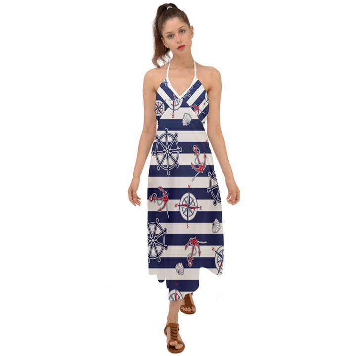Seamless-marine-pattern Halter Tie Back Dress