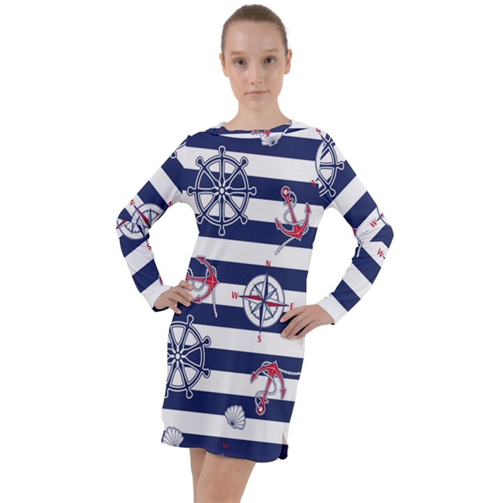 Seamless-marine-pattern Long Sleeve Hoodie Dress