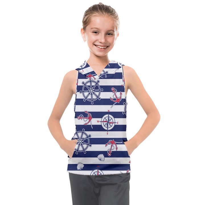Seamless-marine-pattern Kids  Sleeveless Hoodie
