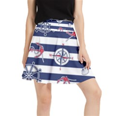 Seamless-marine-pattern Waistband Skirt
