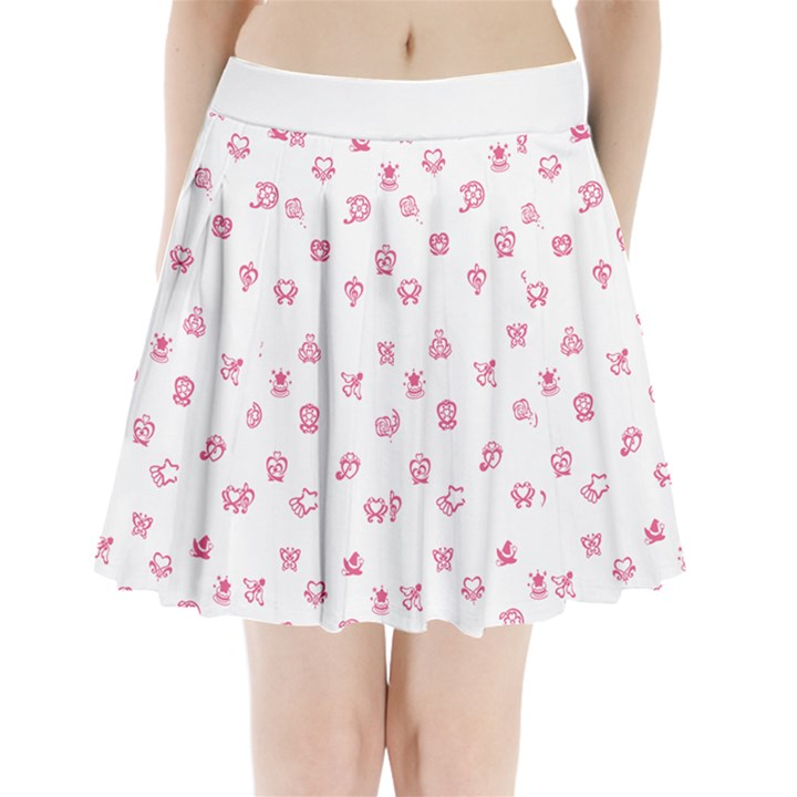 whitepink Pleated Mini Skirt