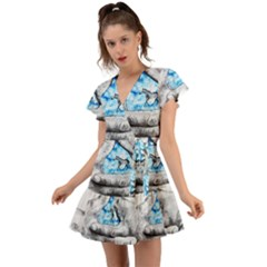Hands Horse Hand Dream Flutter Sleeve Wrap Dress