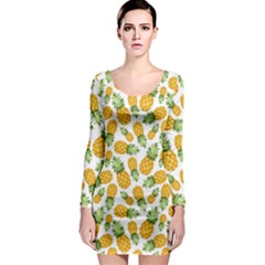 Pineapples Long Sleeve Bodycon Dress by goljakoff