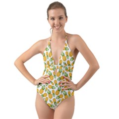 Pineapples Halter Cut-out One Piece Swimsuit by goljakoff