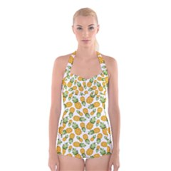 Pineapples Boyleg Halter Swimsuit  by goljakoff