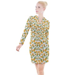 Pineapples Button Long Sleeve Dress by goljakoff