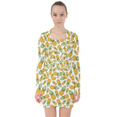 Pineapples V-neck Bodycon Long Sleeve Dress by goljakoff
