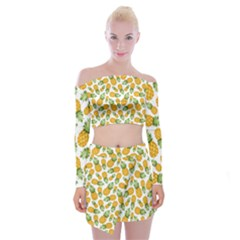 Pineapples Off Shoulder Top With Mini Skirt Set by goljakoff