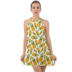 Pineapples Halter Tie Back Chiffon Dress by goljakoff