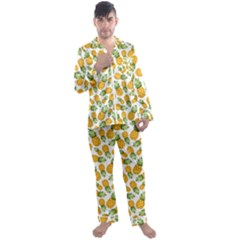 Pineapples Men s Long Sleeve Satin Pyjamas Set by goljakoff