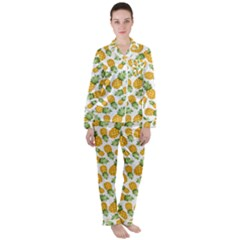 Pineapples Satin Long Sleeve Pyjamas Set by goljakoff
