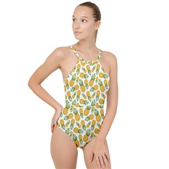 Pineapples High Neck One Piece Swimsuit by goljakoff