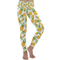 Pineapples Kids  Lightweight Velour Classic Yoga Leggings by goljakoff