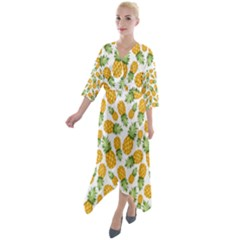 Pineapples Quarter Sleeve Wrap Front Maxi Dress by goljakoff