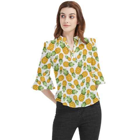Pineapples Loose Horn Sleeve Chiffon Blouse by goljakoff