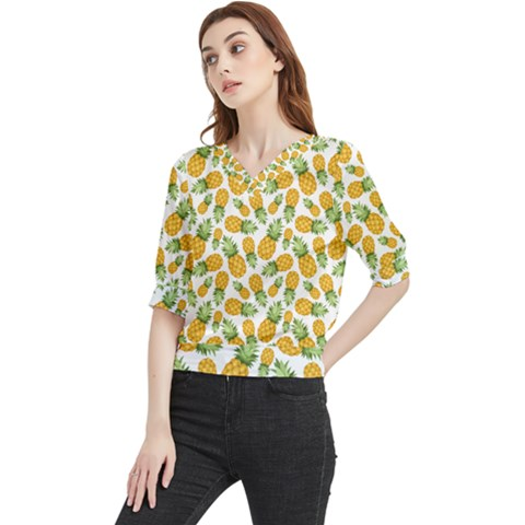 Pineapples Quarter Sleeve Blouse by goljakoff