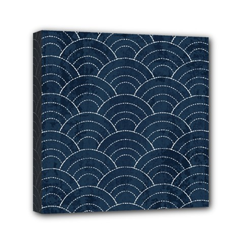 Blue Sashiko Pattern Mini Canvas 6  X 6  (stretched) by goljakoff