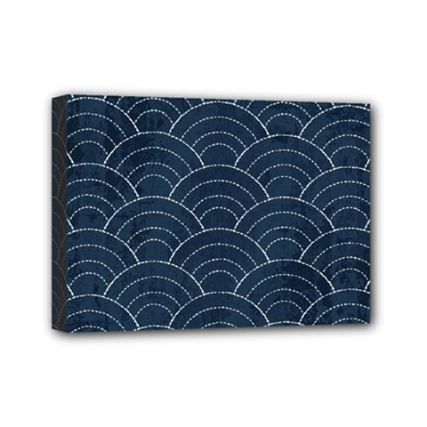 Blue Sashiko Pattern Mini Canvas 7  X 5  (stretched) by goljakoff