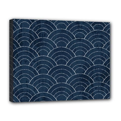 Blue Sashiko Pattern Canvas 14  X 11  (stretched) by goljakoff