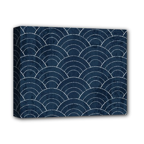 Blue Sashiko Pattern Deluxe Canvas 14  X 11  (stretched) by goljakoff