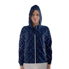 Blue Sashiko Pattern Women s Hooded Windbreaker by goljakoff
