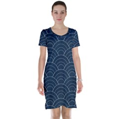 Blue Sashiko Pattern Short Sleeve Nightdress by goljakoff