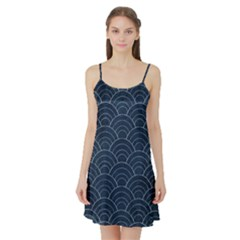 Blue Sashiko Pattern Satin Night Slip by goljakoff
