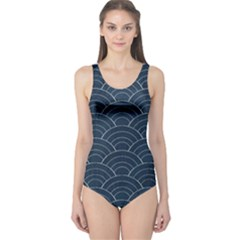 Blue Sashiko Pattern One Piece Swimsuit by goljakoff