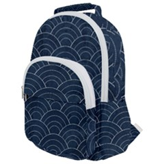 Blue Sashiko Pattern Rounded Multi Pocket Backpack by goljakoff