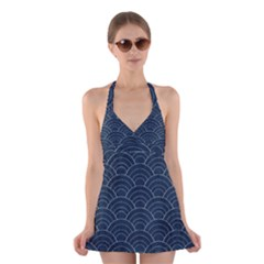 Blue Sashiko Pattern Halter Dress Swimsuit  by goljakoff