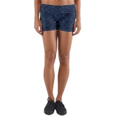 Blue Sashiko Pattern Yoga Shorts by goljakoff