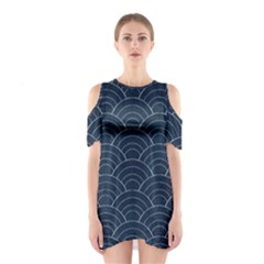 Blue Sashiko Pattern Shoulder Cutout One Piece Dress by goljakoff