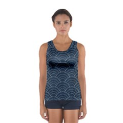 Blue Sashiko Pattern Sport Tank Top  by goljakoff