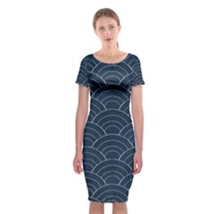 Blue Sashiko Pattern Classic Short Sleeve Midi Dress by goljakoff