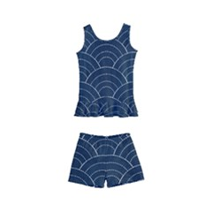 Blue Sashiko Pattern Kids  Boyleg Swimsuit by goljakoff