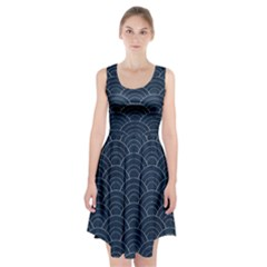 Blue Sashiko Pattern Racerback Midi Dress by goljakoff