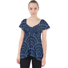 Blue Sashiko Pattern Lace Front Dolly Top by goljakoff